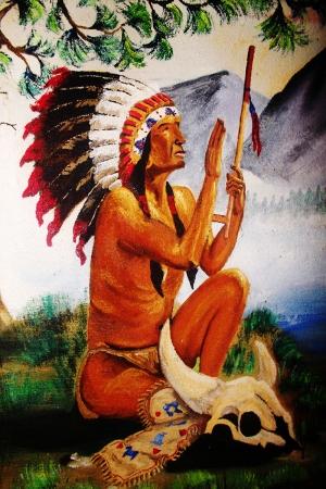 Kızıl Derililer Amerikan Yerlileri-18 Modern Sanat Kanvas Tablo