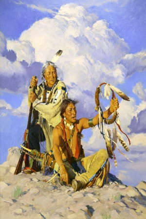 Kızıl Derililer Amerikan Yerlileri-4 Modern Sanat Kanvas Tablo