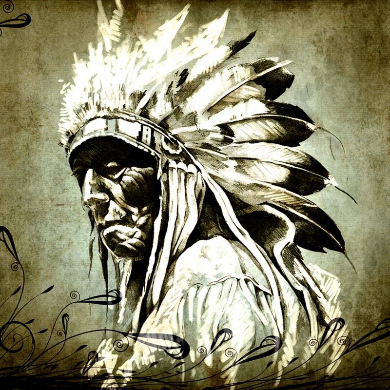 Kızıl Derililer Amerikan Yerlileri-55 Modern Sanat Kanvas Tablo