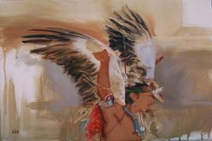 Kızıl Derililer Kartal Dansı Modern Sanat Kanvas Tablo