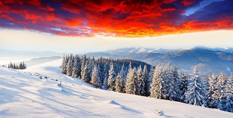 Kızıl Doğa Kar Manzarası Kanvas Tablo