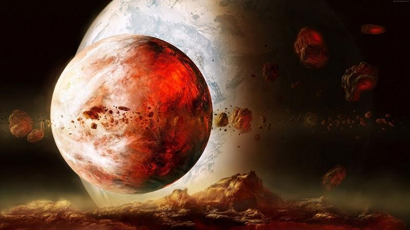 Kızıl Gezegen ve Meteorlar Dünya & Uzay Kanvas Tablo