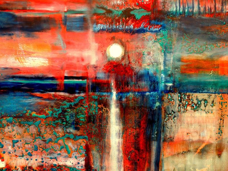 Kızıl Gökyüzü Soyut Yağlı Boya Abstract Kanvas Tablo