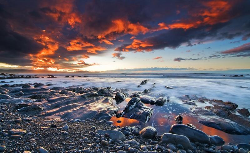 Kızıl Gökyüzü ve Deniz Doğa Manzaraları Kanvas Tablo