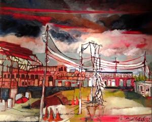 Kızıl Gökyüzü Yağlı Boya Sanat Kanvas Tablo
