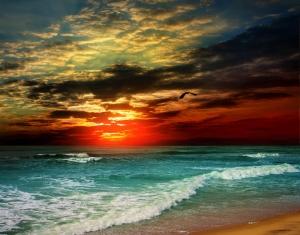 Kızıl Gün Batım ve Mavi Deniz Doğa Manzaraları Kanvas Tablo