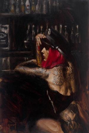 Kızıl Saçlı Dövmeli Kız Modern Sanat Kanvas Tablo
