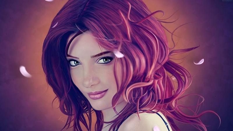 Kızıl Saçlı Kadın İllustrasyon Çizim Popüler Kültür Kanvas Tablo