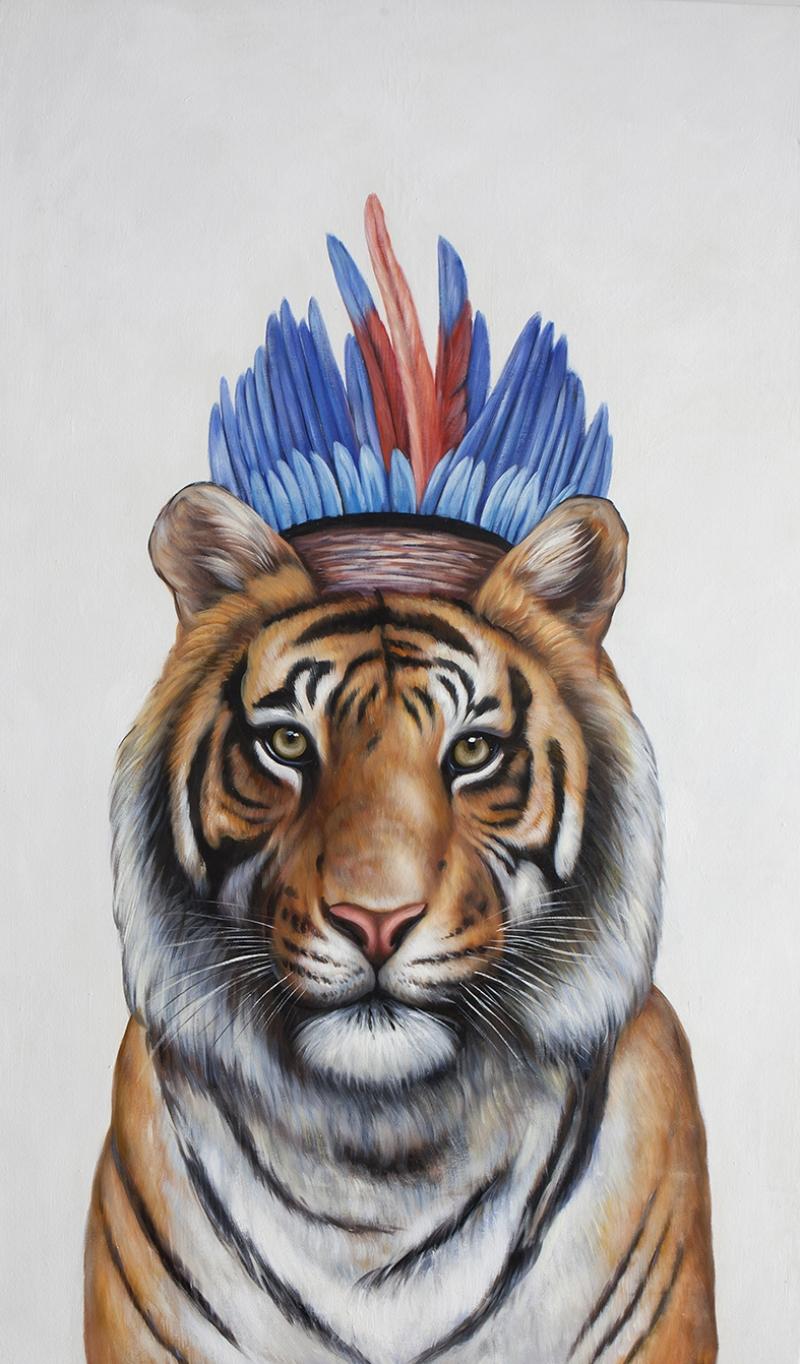 Kızılderili Kaplan Yağlı Boya Sanat Kanvas Tablo