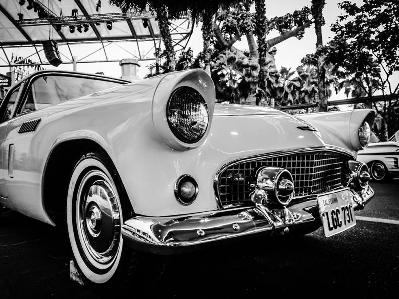 Klasik Otomobil Araçlar Siyah Beyaz Fotoğraf Kanvas Tablo
