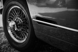 Klasik Otomobil Jant Siyah Beyaz Kanvas Tablo