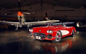 Klasik Otomobil ve Uçak Kanvas Tablo