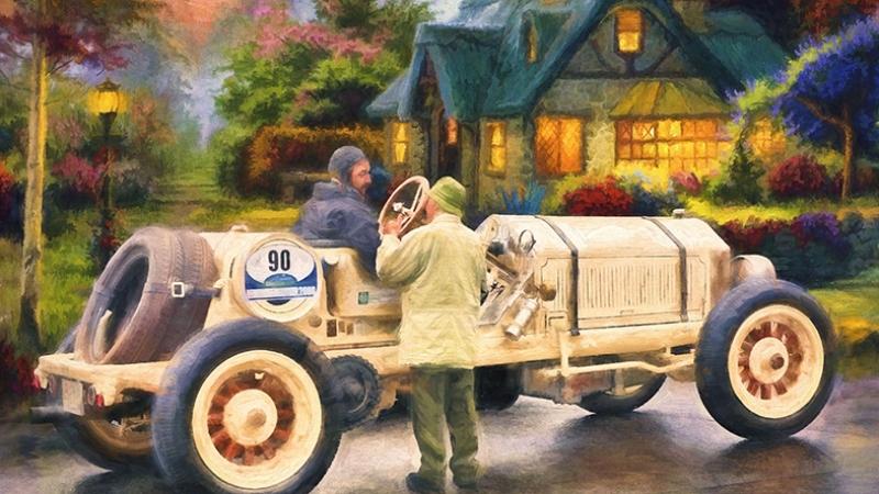 Klasik Otomobil Yağlı Boya Sanat Kanvas Tablo