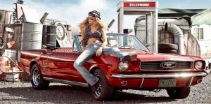 Klasik Otomobiller Ford Mustang-105 Amerikan Klasik Arabalar Kanvas Tablo