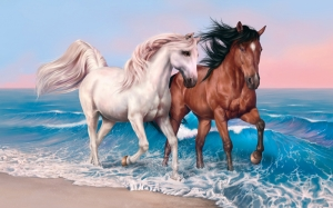 Koşan Atlar Hayvanlar Kanvas Tablo