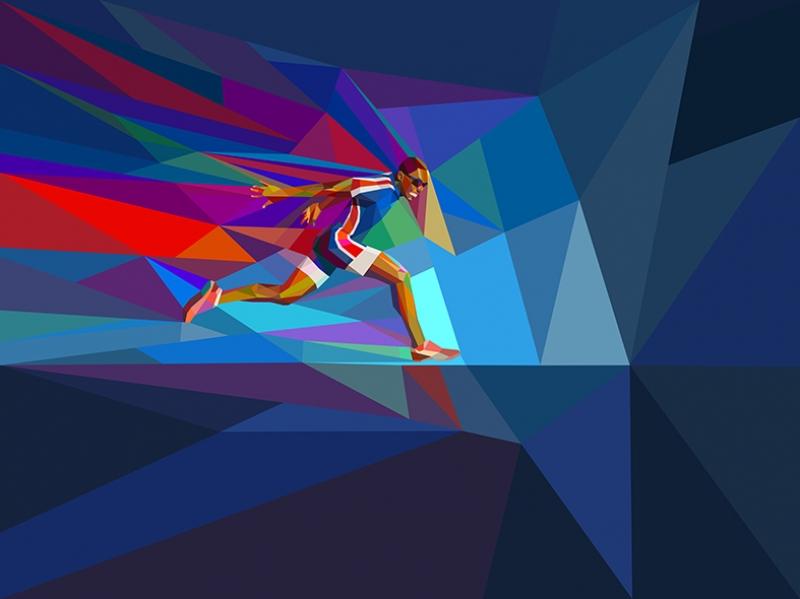 Koşu Poly İllustrasyon 2 Spor Kanvas Tablo
