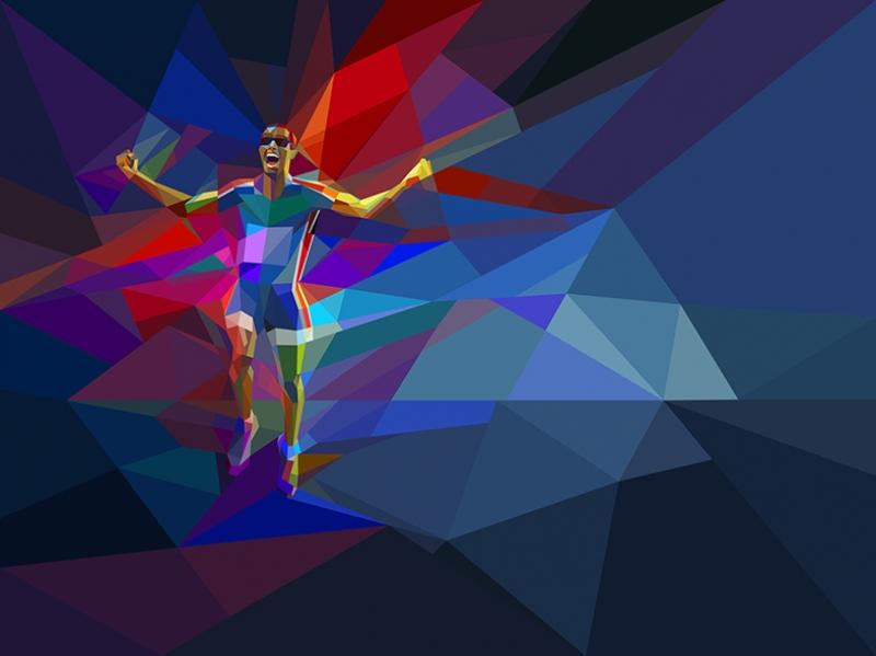 Koşu Poly İllustrasyon Spor Kanvas Tablo