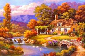 Köy Doğa Manzarası 1 Yağlı Boya Sanat Kanvas Tablo