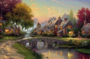 Köy Doğa Manzarası 2 Yağlı Boya Sanat Kanvas Tablo