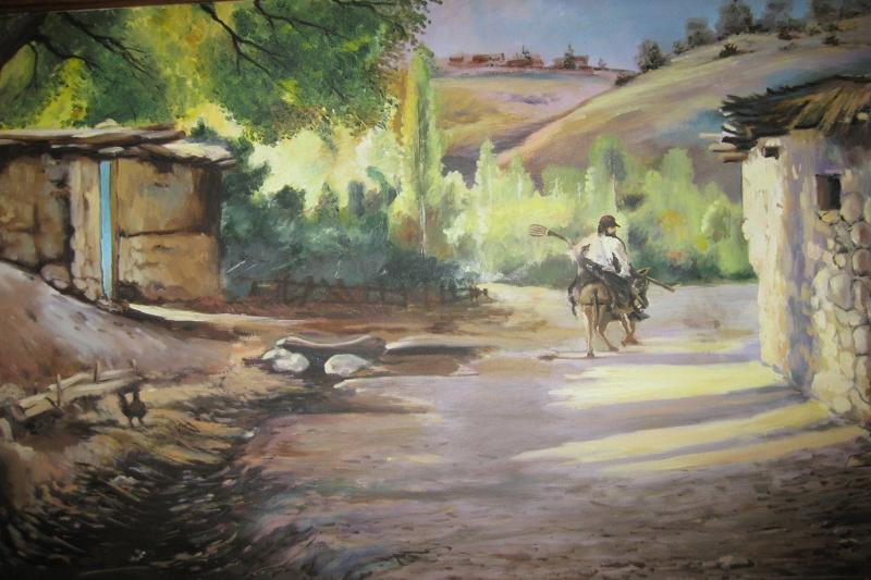 Köy Manzarası Günlük Yaşam Manzaraları Yağlı Boya Sanat Kanvas