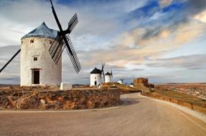 Köy ve Değirmen Manzarası Kanvas Tablo
