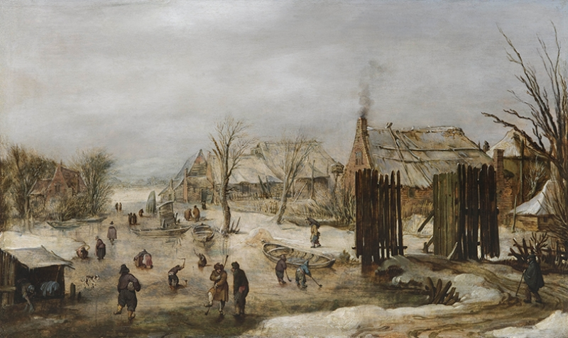 Köyde Kış Manzarası Yağlı Boya Sanat Kanvas Tablo
