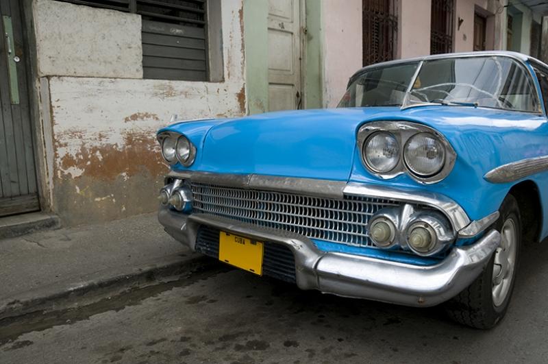 Kuba Eski Klasik Otomobil Mavi Kanvas Tablo