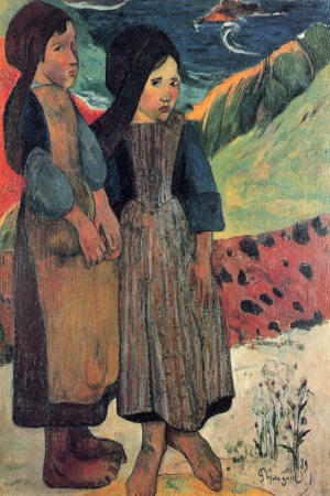 Küçük Britanyalı Kadınlar Denizde Little Brethren At The Sea Paul Gauguin Reproduksiyon Kanvas Tablo