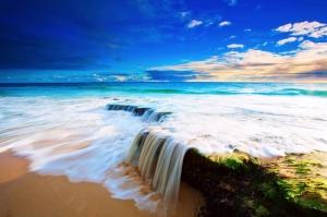 Kumsalda Eşsiz Manzara Deniz Doğa Manzaraları Kanvas Tablo