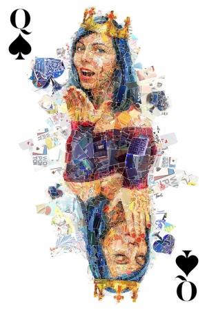 Kupa Kızı Mozaik İllustrasyon Kanvas Tablo