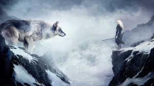 Kurt ve Savaşçı Kız Fantastik Hayvanlar Kanvas Tablo