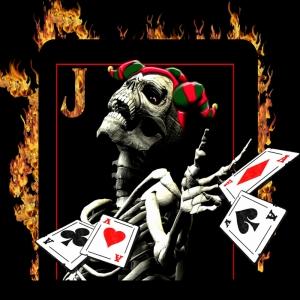 Kuru Kafa ve Poker Kağıtlari-4 Dijital Fantastik Kanvas Tablo