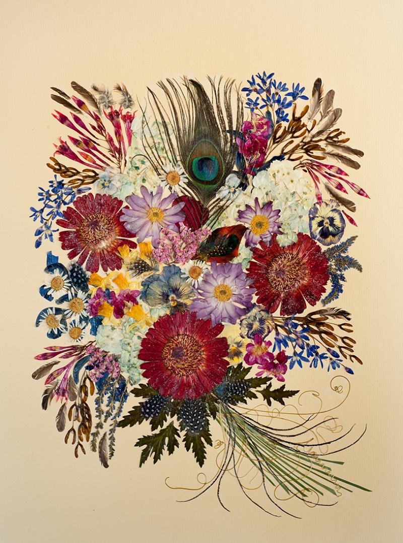 Kuş Tüyü ve Çiçekler Yağlı Boya Sanat Kanvas Tablo
