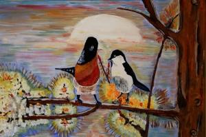 Kuşlar Yağlı Boya Sanat Kanvas Tablo