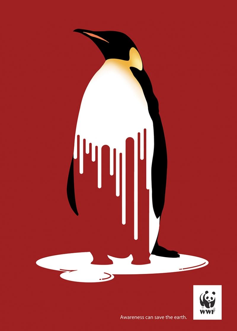 Kutuplarda Küresel Isınma Penguen İllustrasyon Kanvas Tablo