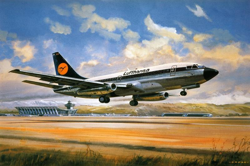 L. Havayolları Uçağın Pisten Kalkış Anı Kanvas Tablo