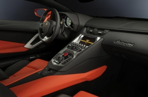 Lamborghini Aventador LP700 Turuncu Kokpit ve İç Dizayn Kanvas Tablo