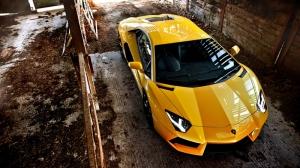 Lamborghini Aventador Spor Otomobil Sarı Kanvas Tablo