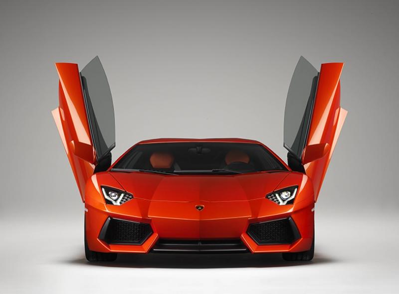 Lamborghini Aventador Spor Otomobil Turuncu Kanvas Tablo
