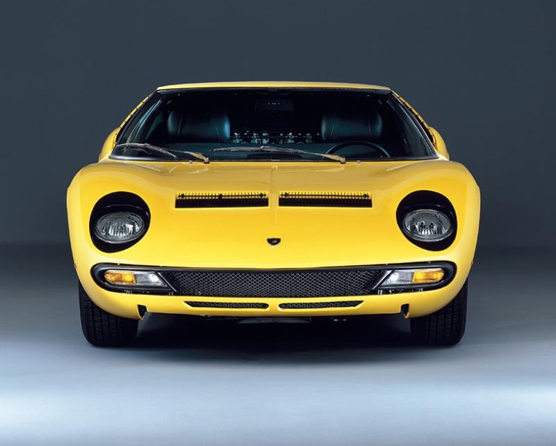 Lamborghini Miura Klasik Spor Otomobil Sarı Kanvas Tablo