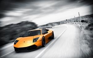 Lamborghini Murcielago SV Spor Otomobil Turuncu Kanvas Tablo