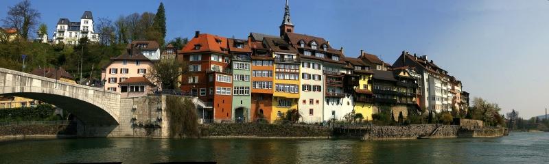 Laufenburg Şehir Manzarası 2 Panaromik Kanvas Tablo
