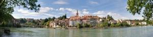 Laufenburg Şehir Manzarası Panaromik Kanvas Tablo