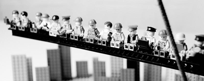 Lego Siyah  Beyaz Panaroma Panaromik Kanvas Tablo