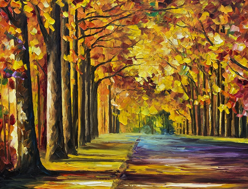 Leonid Afremov 5 Orman Renkli Ağaçlar Yağlı Boya Sanat Kanvas Tablo