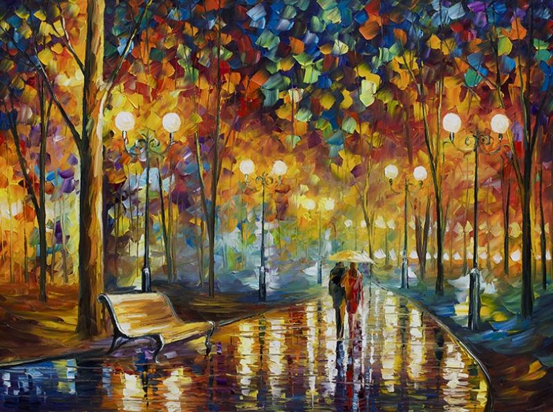 Leonid Afremov 6 Park, Sevgili ve Yağmur Yağlı Boya Sanat Kanvas Tablo