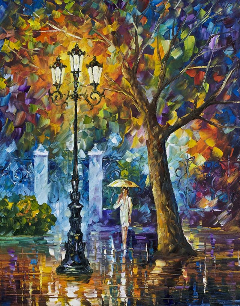 Leonid Afremov 7 Parkta Yağmur Yağlı Boya Sanat Kanvas Tablo