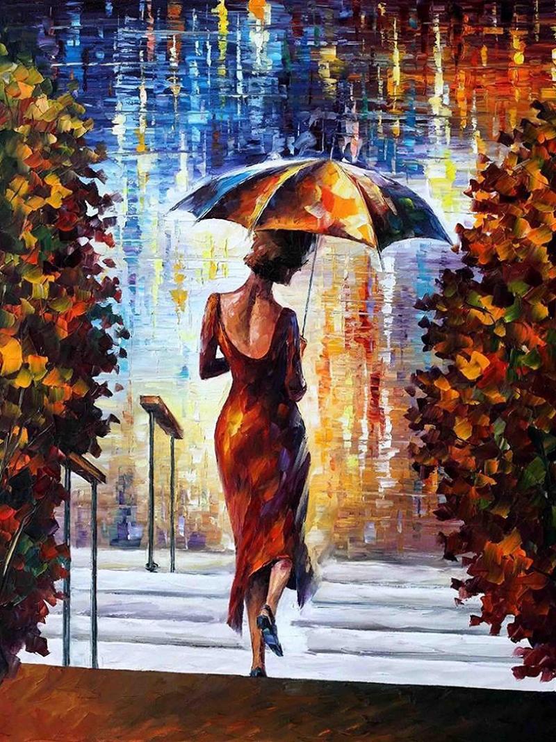 Leonid Afremov 7 Şemsiyeli Kadın Yağlı Boya Sanat Kanvas Tablo