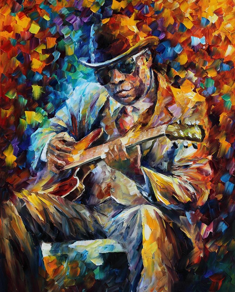 Leonid Afremov 8 Siyahi Adam Gitar Yağlı Boya Sanat Kanvas Tablo