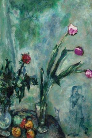 Lezzetli Laleler Marc Chagall Mauve Tulips 1928 Klasik Sanat Kanvas Tablo